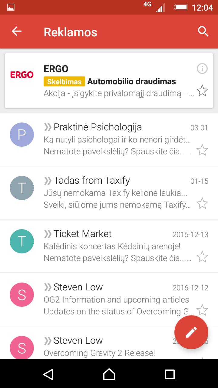 Reklama Gmail aplinkoje